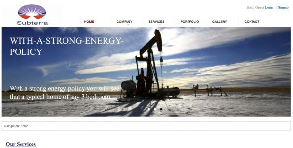 An oil and gas servicing company website for Subterra