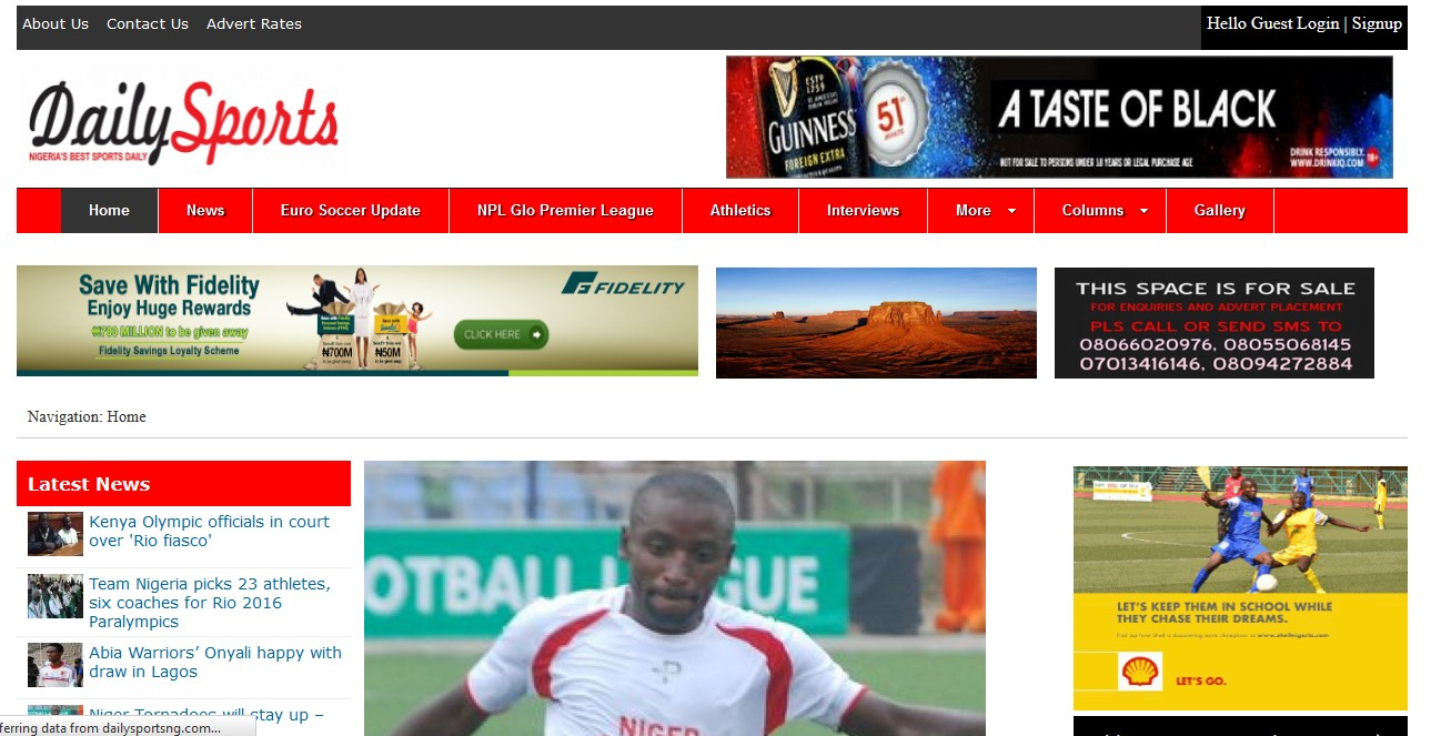 A sports news publishing website project for Daily Sports Nigeria